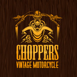 Fototapety Gold vintage bikers badge on the wooden texture. Vector stock.