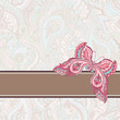 Vector greeting card with pink decorative butterfly on seamless