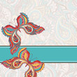 Vector background with two colored decorative butterflies.