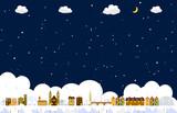 Fototapety 街並み 雪の夜
