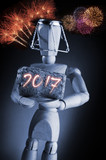 Year 2017, manikin mannequin human artist drawing model holding a wine cork on black background with fireworks