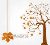 Fototapety Thanksgiving poster. Tree with maple leaves. Vector illustration.