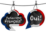 Fototapety Parlez-vous Francais - Speech Bubbles / Two speech bubbles with French flag and text Parlez-vous Francais? Oui! (Do you speak French?)