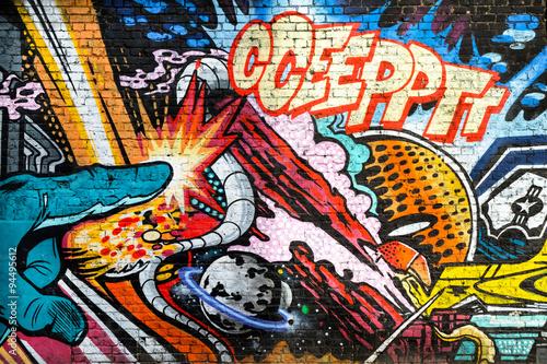 Poster Abstract comic fantasy graffiti art, Hackney, London