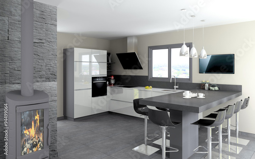 cuisine 09 cuisine blanc brillant et table granit noir photo libre de droits sur la banque d. Black Bedroom Furniture Sets. Home Design Ideas