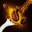 Coffee beans and a splash of coffee and milk on a color background