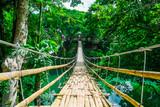 Fototapety Bamboo pedestrian suspension bridge over river