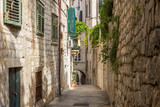 Narrow, empty and idyllic alley at the Old Town in Dubrovnik, Croatia.