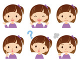 Fototapety 子供 女の子 表情ポーズ セット