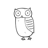line drawing cartoon  owl