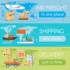 Set of delivery web banners