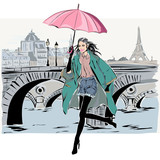Fashion model in sketch style fall winter with Paris city background