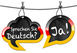 Fototapety Sprechen Sie Deutsch - Speech Bubbles / Two speech bubbles with German flag and text Sprechen Sie Deutsch? Ja! (Do you speak German? Yes!). Isolated on white