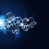 Motion Gears Abstract Blue Background