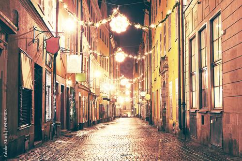 obraz PCV The night street in Gamla Stan, Stockholm.