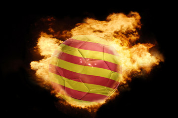 football ball with the flag of catalonia on fire