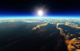 Earth sunrise from outer space