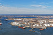 View of Port Newark and the MAERSK shipping containers in Bayonn