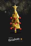 Fototapety Merry christmas happy new year golden tree low poly