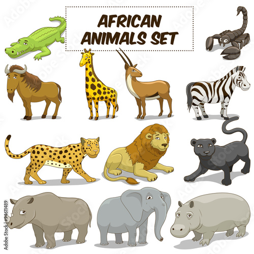 Staande foto Kinderkamer Cartoon african savannah animals set vector
