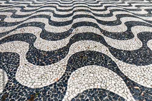 Papiers peints Rio de Janeiro Iconic sidewalk tile pattern at Copacabana Beach Rio de Janeiro Brazil