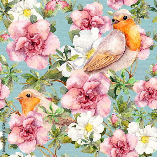 Materiał do szycia Watercolor birds and flowers . Seamless floral pattern.