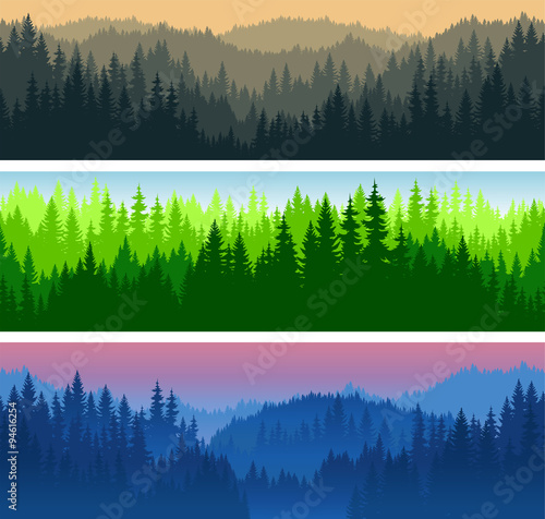 fototapeta na ścianę set of vector mountains forest background texture seamless pattern