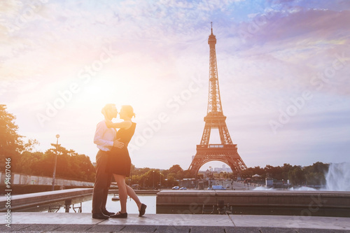 Poster honeymoon in Paris, romantic vacations for loving couple in France
