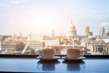 Fototapety cafe with view of London, two cups of coffee and St Paul cathedral