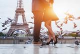 Fototapety couple near Eiffel tower in Paris, romantic kiss