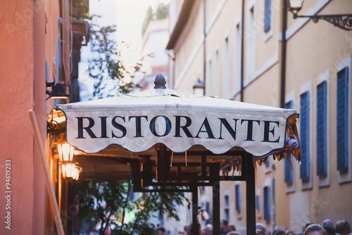 Fototapeta italian restaurant, sign on the street in Rome, Italy