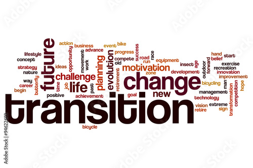 Transition word cloud concept