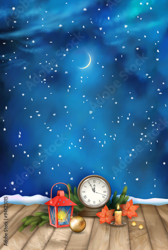 Christmas Night Watercolor Background