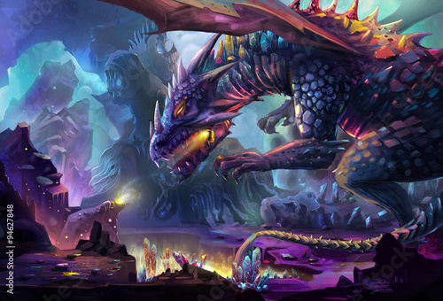 Fototapeta Illustration: The Dragon Planet - The danger dragon is drinking the energy generated by gem stone and crystal. Never touch the treasure in his planet, he will kill you. - Scene Design. Fantastic Style