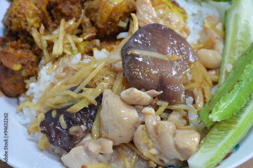 Photo: stir-fried chicken with slice ginger and black mushroom on rice
