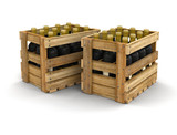 Wooden boxes with wine bottles. Image with clipping path