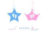 Twin baby boy and girl star with crown baby foot print vector