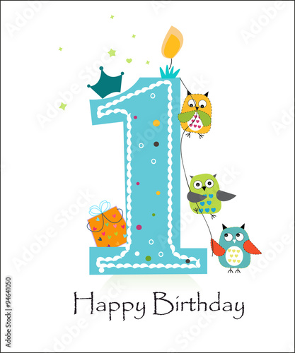 Happy First Birthday With Owls Baby Boy Greeting Card Vector Buy