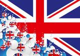 drapeau anglais avec des bulles