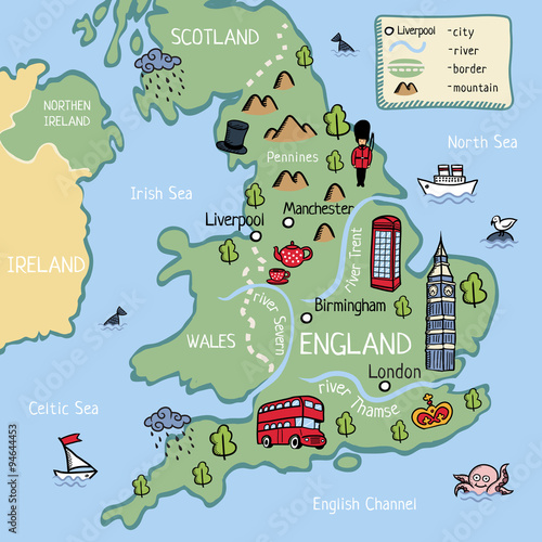 Kids Map Of Ireland.Cartoon Map Of United Kingdom For Kids Buy Photos Ap Images