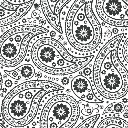Cotton fabric Seamless Paisley background. Elegant Hand Drawn vector pattern.