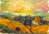 Beautiful Original Oil Painting of autumn landscape, haystack behind a fence on a background of green grass mountain range On Canvas - 94666868