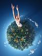 girl running around the planet
