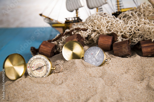 ship in the network, chests of gold, shells