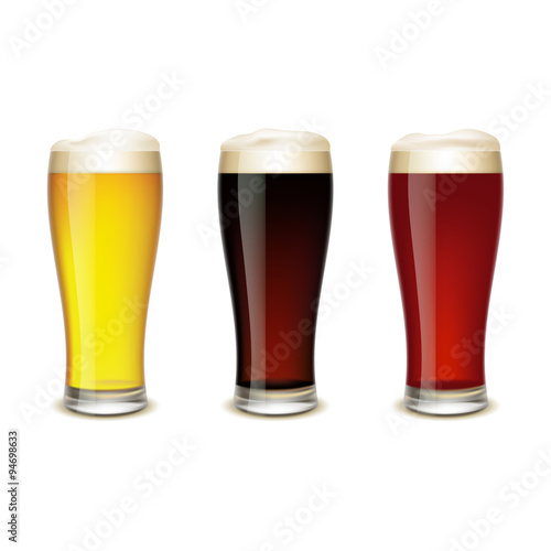 Set of glasses with beer Poster