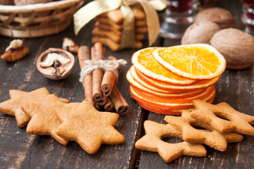Christmas spices and homemade gingerbread
