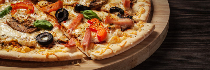 Ham pizza close up letterbox © Dmitry Rukhlenko