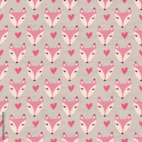 Cotton fabric Fox with heart seamless pattern