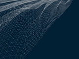 Fototapety Water Surface. Wavy Grid Vector Background