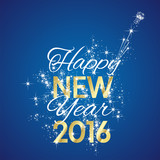 Fototapety 2016 Happy New Year firework blue background